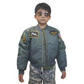 トップガン キッズ MA-1 カラーがセージと黒パッチ付 フライトジャケット子供服 MA-1 FLIGHT JACKETS